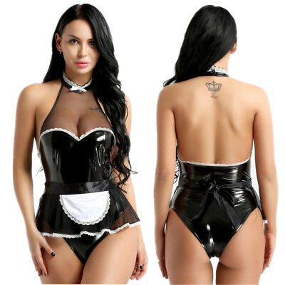 2Pcs Women French Maid Babydoll Outfit Set Halter Jumpsuit Sexy Cosplay Costume