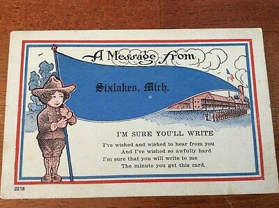Greetings Postcard from Sixlakes, Michigan. Posted 1920