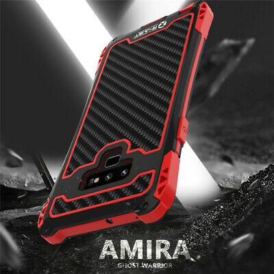 R-JUST Shockproof Carbon Fiber Metal Case Cover For Samsung Galaxy S9/S8/Note 9