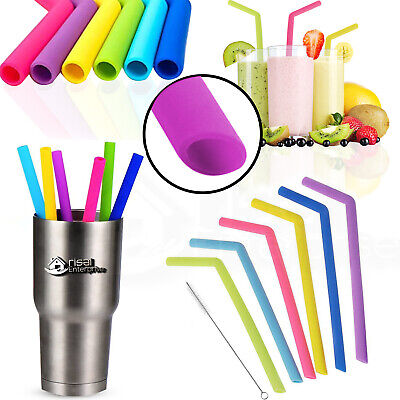 Reusable Straw Silicone Drinking Straws Washable w/Brush UK Eco Friendly Gifts