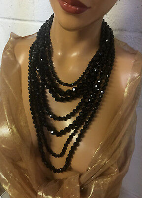 Vintage GRACIANO Dramatic Black Faceted Bead 7 Strand Draping Necklace~ MINTY!