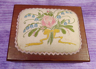 Vintage Wooden Dovetail Jewelry Keepsake Sewing Box Floral Embroidery Top Mirror