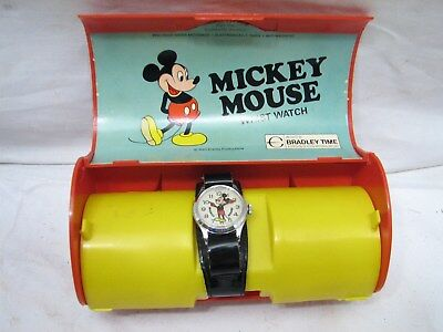 Bradley Time Mickey Mouse Wristwatch w/Case Disney Wrist Watch