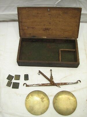 Antique Iron & Brass Apothecary Pharmaceutical Scale Gold w/Weights Wood Box A