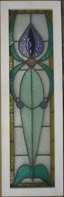 """LARGE OLD ENGLISH LEADED STAINED GLASS WINDOW Nice Bordered Pastels 13"""" x 41.75"""""""