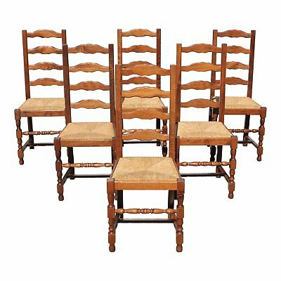 Beautiful Set of 6 French Country Rush Seat Solid Walnut Dining Chairs .