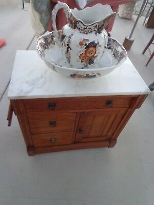 Antique Washstand with Marble Top & original pulls & Pitcher and Bowl
