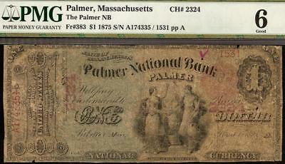 Large 1875 $1 Dollar Palmer National Bank Note Big Currency Old Paper Money Pmg