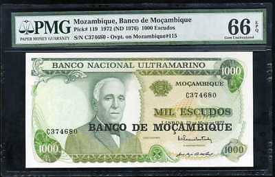 Mozambique P116 P117 P118 P119 Years 1972-76 Uncirculated Banknotes Set #1