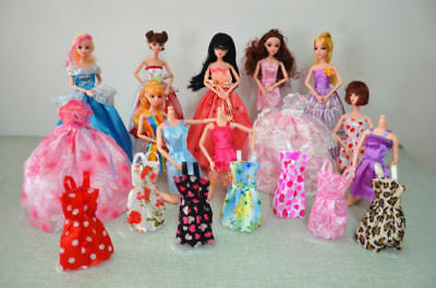 8 pcs/lot Beautiful Handmade Pretty Dress For Barbie Doll Clothes Fashion Outfit