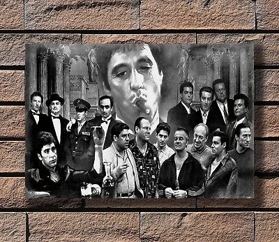 Gangsters Godfather Goodfellas Scarface Sopranos Movie Poster Fabric 24x36 E-99