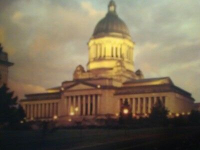 vintage POST CARD @ DUSK STATE CAPITAL @ OLYMPIA WASHINGTON.