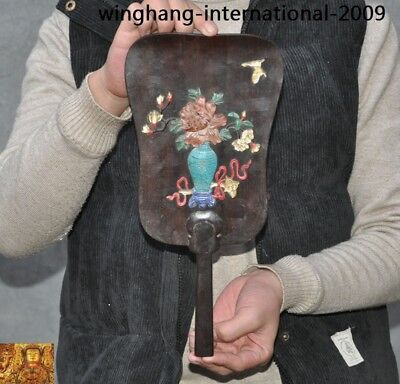 China Rosewood wood inlay Shoushan Stone shell vase flower butterfly fan statue