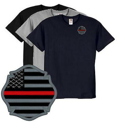 Thin Red Line Firefighter Maltese US Flag  Embroidered Tee Rescue EMT Paramedic