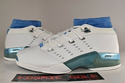 4ecaf7d38aee68 Nike Air Jordan 17 Low White Carolina UNC Blue 2002 Style   303891-141 Size
