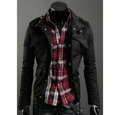 New Fashion Mens Zip Button Military Slim Fit Collar Jacket Hooded Coats Outwear