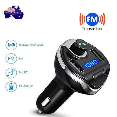 Bluetooth FM Transmitter Radio Adapter Car Kit Dual USB Charger Hands-free TF