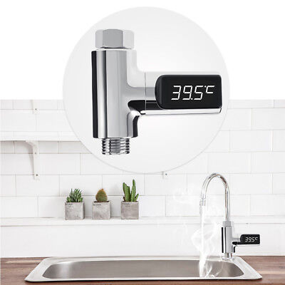LED Digital Display Shower Water Temperature Thermometer Monitor Battery Free US
