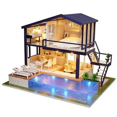 DIY LED Wooden Dollhouse Miniature Wooden Furniture Kit Doll House Toy Gift