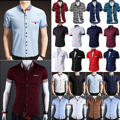 Mens Slim Fit Dress Shirt Short Sleeve Casual Formal Luxury T-shirts Tops Blouse