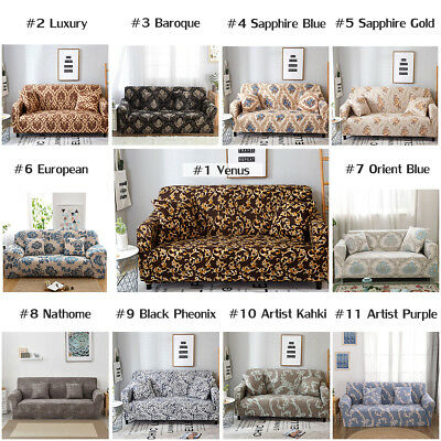 1/2/3/4 Seater Couch Sofa Slipcover Protector Cover Chair Faom Sticks Washable