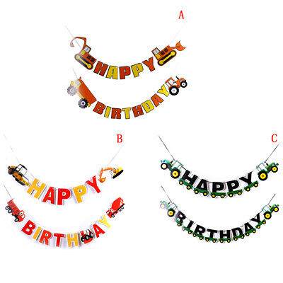 Construction Car Happy Birthday Banner Excavator Truck Garland Flags Party Decor