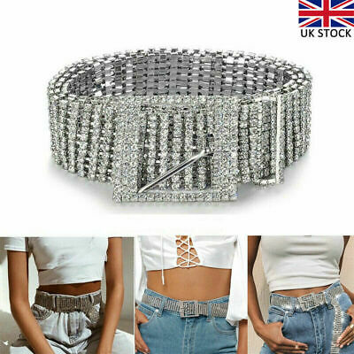 Silver Full Rhinestone Diamante Ladies Waist Charm Belt Fashion Accessories UK