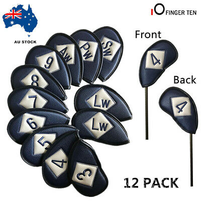 Golf Head Covers 12 PCS PU Leather Iron Club Putter Headcover Set Black Red Blue
