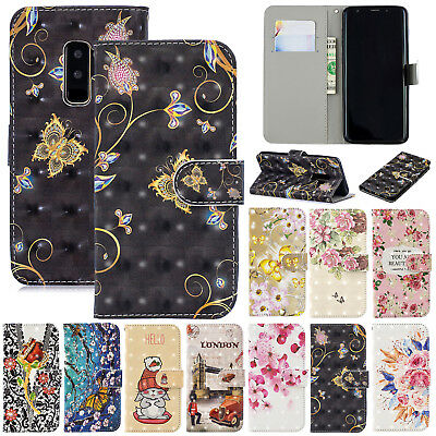 For Samsung Galaxy S9 S8 Plus Flip Card Wallet Leather Magnetic Stand Case Cover