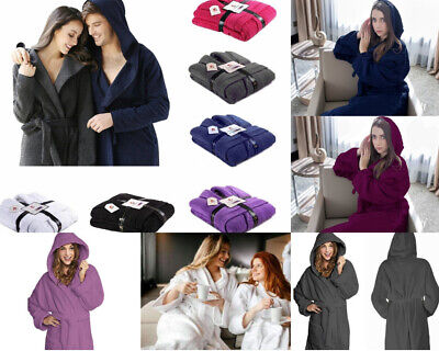 Unisex 100% Egyptian Cotton Towelling Hooded Bath Robe Terry Towel Dressing Gown