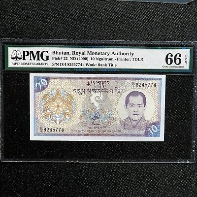 ND 2000 Bhutan 10 Ngultrum, Pick # 22, PMG 66 EPQ Gem Uncirculated