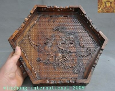 Old Chinese huanghuali wood hand carved Phoenix bird statue tray Pallets plate