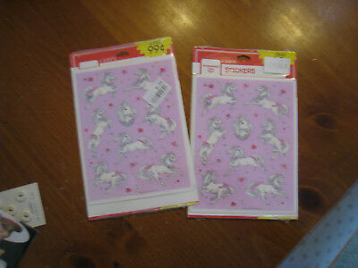2 Pkgs (8 sheets) Brand New Ambassador Dancing White Horses Stickers Vintage