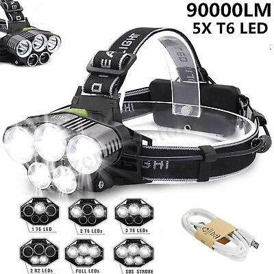 90000LM 5X T6 LED Rechargeable Headlamp Headlight Lamp Flashlight Head Torch