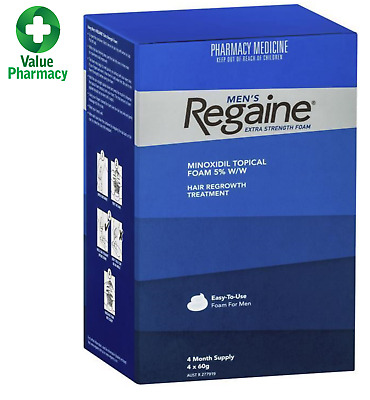 New REGAINE MENS EXTRA STRENGTH FOAM 4 MONTHS SUPPLY 4 X 60G HAIR LOSS TREATMENT