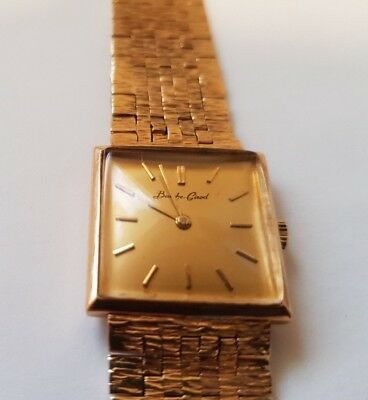 Bueche Girod 9ct Gold Authentic Mens Watch 1970s