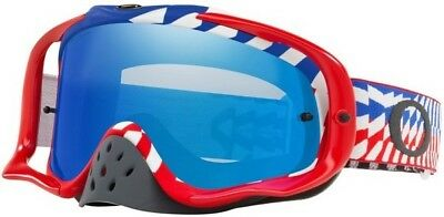 New Oakley Crowbar MX Goggle Bumps Red/White/Blue – Black Ice Iridium + Clear