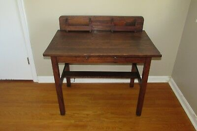 Antique Vintage Arts & Crafts Mission Style Solid Wood Desk #1086HR