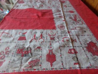 """1950's  Floral Tablecloth Vintage 50""""x60"""" Red's,White"""