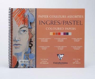 Clairefontaine Ingres Spiral Pastel Pad 8 Colours