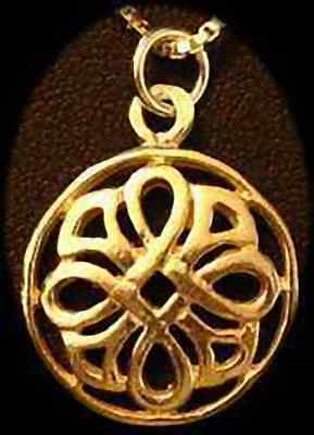 LOOK Gold plated Weave Wicca Pendant Celtic Charm Good Luck