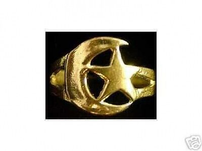 LOOK Gold Plated Moon and Star Celtic Ring Jewelry Silver