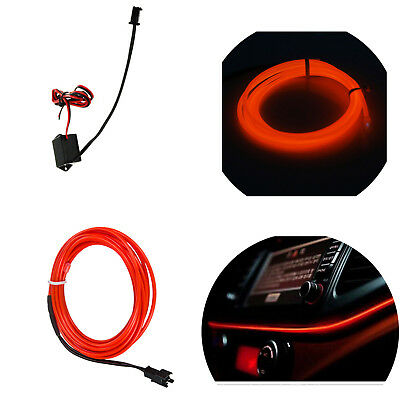 1M 3.28FT Neon EL Wire RED LED Light Glow Strip Rope Tube + 12V Controller SS17