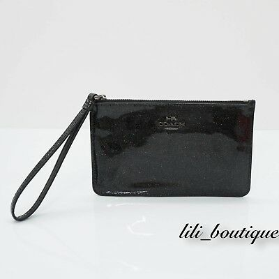a2240efe6aec NWT Coach F30252 Small Zip Wristlet Wallet Patent Leather Glitter Black  Multi 95