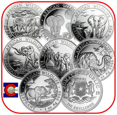 2013 2014 2015 2016 2017 2018 2019 Parade of Somalia Elephants 7 Silver Coins