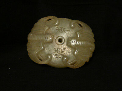 Vintage Carved White Green Jade Stone Chinese Pendant Necklace Netsuke Two Bats