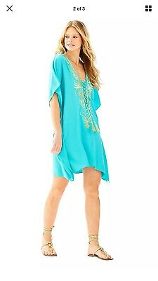 4634332267d1f Lily Pulitzer Chai Caftan Swimsuit Cover-up Seaside Aqua Size S/M New with