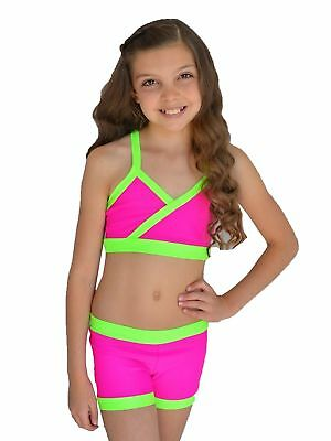 1c5d3c87a1d416 Lexi Luu Big Girls Fuchsia Neon Green Zoey 2 Pc Crop Top Dance Set 8-