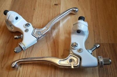 Nos Bmx Acs Freestyle Levers Pair Set White And Silver New In Packet Nip