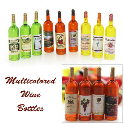 Miniature Hollow Multicolored Wine Bottles for Dollhouse 1:12 Scale 6PCS/set